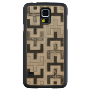 African Mudcloth Textile with Geometric Patterns Carved® Maple Galaxy S5 Case