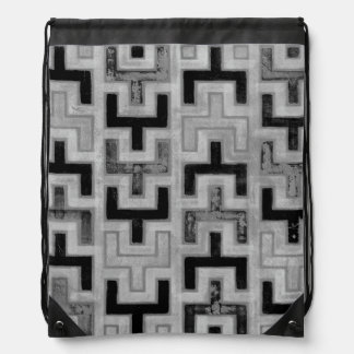 African Mudcloth Textile with Geometric Patterns Drawstring Backpack