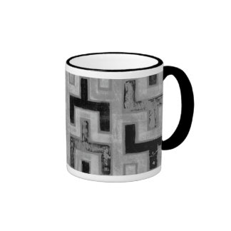 African Mudcloth Textile with Geometric Patterns Mugs