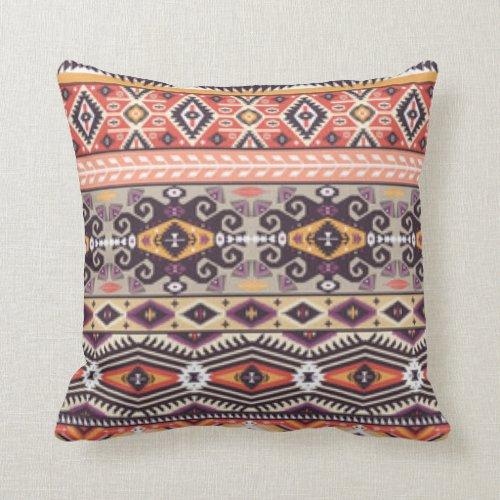 African Multi Color Geometric Design Throw Pillow