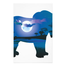 African Night with Elephant 2 Stationery