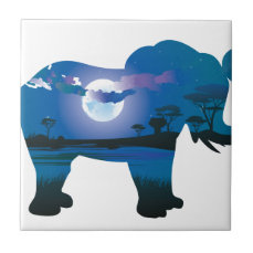 African Night with Elephant 2 Tile