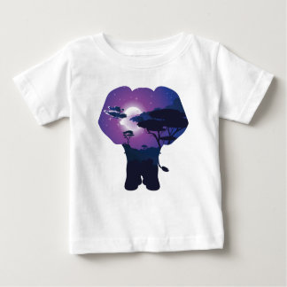 African Night with Elephant 3 Baby T-Shirt
