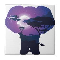 African Night with Elephant 3 Ceramic Tile
