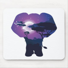 African Night with Elephant 3 Mouse Pad