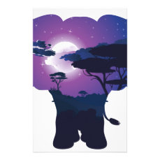 African Night with Elephant 3 Stationery