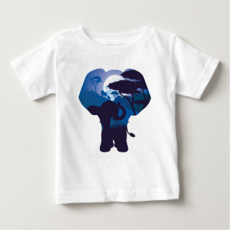 African Night with Elephant 4 Baby T-Shirt