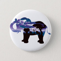 African Night with Elephant 5 Pinback Button