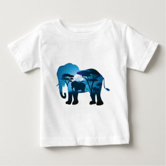 African Night with Elephant 6 Baby T-Shirt