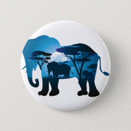 African Night with Elephant 6 Pinback Button