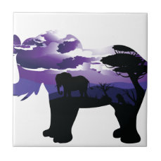 African Night with Elephant Ceramic Tile