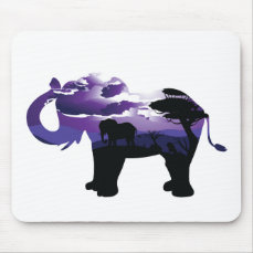 African Night with Elephant Mouse Pad
