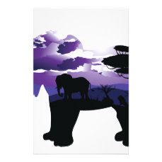 African Night with Elephant Stationery