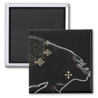 African Nights In Gold 2 Inch Square Magnet