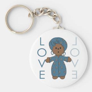 African Paperdoll Basic Round Button Keychain