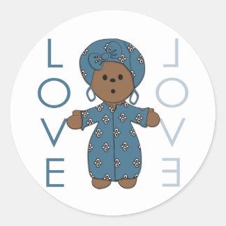 African Paperdoll Round Stickers