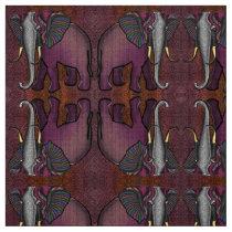 African Patchwork Elephant (Plum, Orange, Gray) Fabric