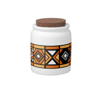 African pattern jar candy dish