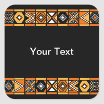 African pattern square sticker