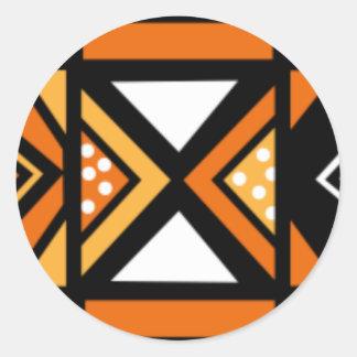 African pattern round sticker