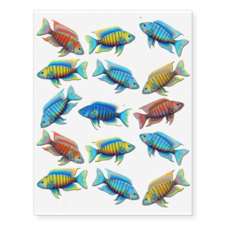 African Peacock Cichlid Fish Temporary Tattoo