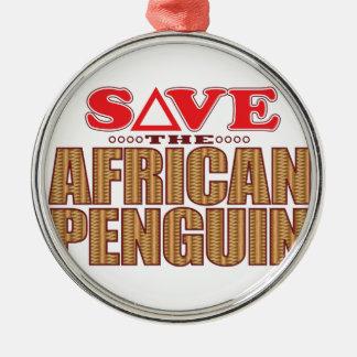 African Penguin Save Metal Ornament
