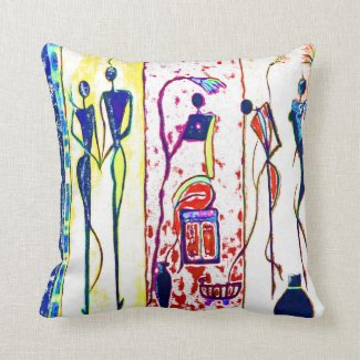 African people art in their phases of life pillow