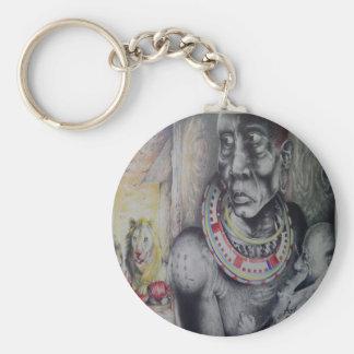 African people Hakuna Matata Lion & Masai Keychain