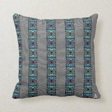 African Pop Border Stripes Pillows