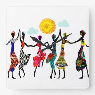 African Praise Dance Square Wall Clock