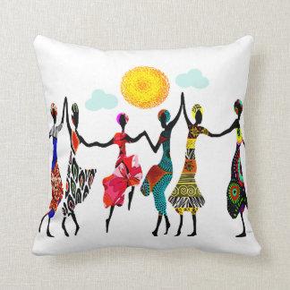 African Praise Dance Throw Pillow
