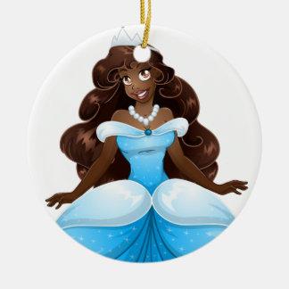 African Princess In Blue Dress Ceramic Ornament