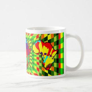 African Print Ankara Painted and Checkered Pattern Classic White Coffee Mug
