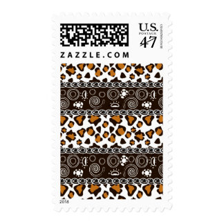 African print with cheetah skin pattern postage stamp