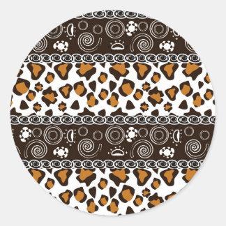 African print with cheetah skin pattern round sticker
