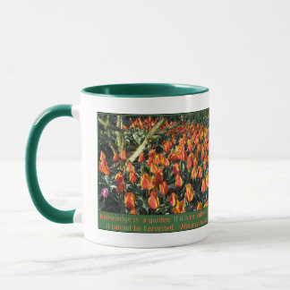 African proverb and flame tulips mug