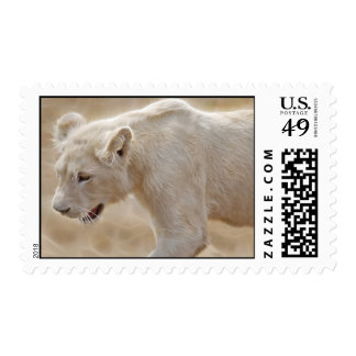 African prowling white lion postage