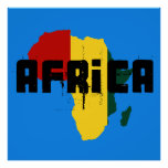African Reggae Ragga Africa Map Poster