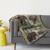 African Rhino and Elephant Throw Blanket