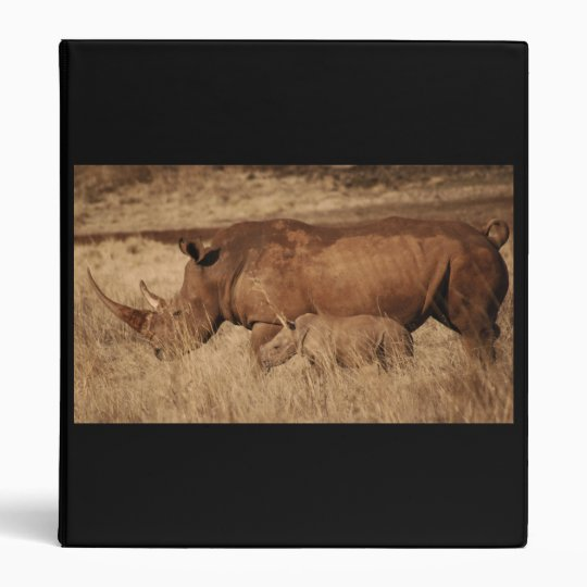 African Rhino mom and baby 3 Ring Binder
