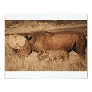 African Rhino mom and baby 4.25x5.5 Paper Invitation Card