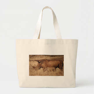 African Rhino mom and baby Large Tote Bag