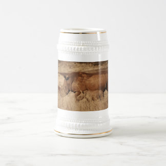 African Rhino mom and baby 18 Oz Beer Stein