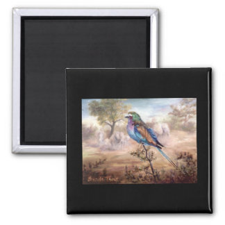 African Roller 2 Inch Square Magnet