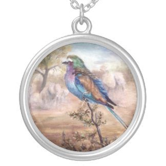African Roller Round Pendant Necklace