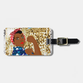african rosie the riveter luggage tag