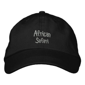 African Safari Black Embroidered Hats