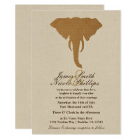 African Safari Brown Wild Elephant Vintage Wedding Invitation