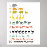 African Safari Counting Poster