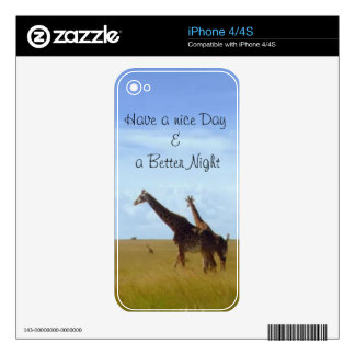 African Safari Giraffes Have a nice Day iPhone 4 Decal
